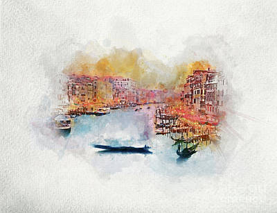 Photograph - Gondola Floating On Grand Canal In Venice, Italy. Watercolor. by Michal Bednarek