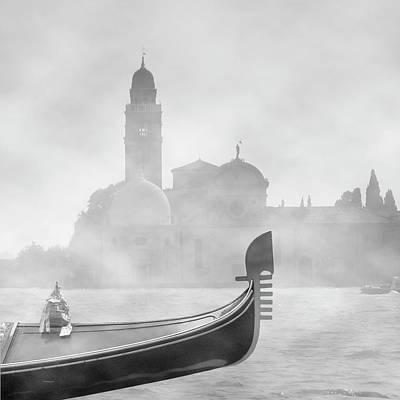 Photograph - Gondola In Fog by Moonlight