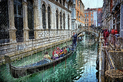 Digital Art - Gondola Ride In Venice by Fine Art Photography Prints By Eduardo Accorinti