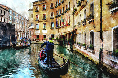 Digital Art - Gondola Traffic Near Piazza San Marco In Venice by Eduardo Jose Accorinti