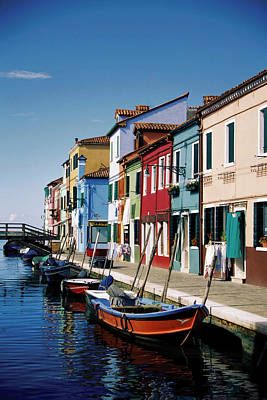 Burano Photograph - Gondolas In A Canal, Burano, Venice by Medioimages/photodisc