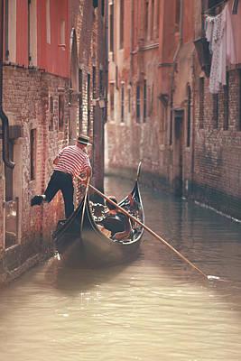 Photograph - Gondolier Riding Gondola In Venice by Nico De Pasquale Photography