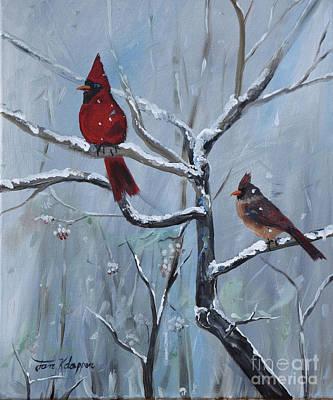 Painting - Gone Away  Is The Bluebird - Walking In A Winter Wonderland by Jan Dappen