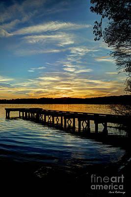 Photograph - Good Bye Fall Leaves Sunset Lake Oconee Georgia Landscape Art by Reid Callaway