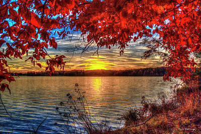 Photograph - Good Bye Until Tomorrow 2 Fall Leaves Sunset Lake Oconee Georgia Landscape Art by Reid Callaway