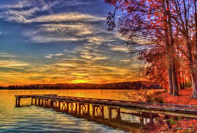 Photograph - Good Bye Until Tomorrow 3 Fall Leaves Sunset Lake Oconee Georgia Landscape Art by Reid Callaway