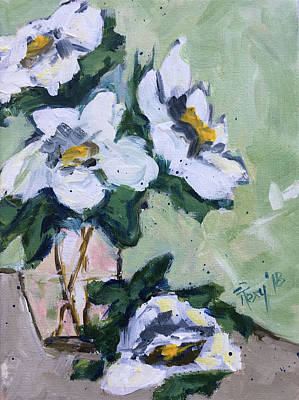 Contemporary Painting - Good Morning Gardenias by Roxy Rich