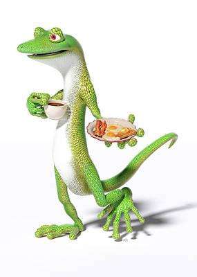 Surrealism Digital Art - Good Morning Gecko by Betsy Knapp