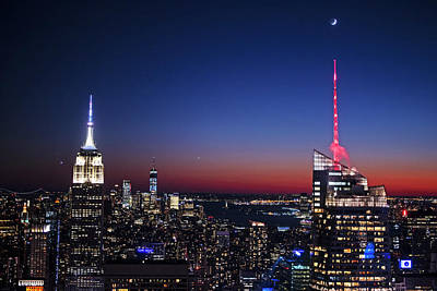 Photograph - Goodnight New York Crescent Moon Over New York City Nyc by Toby McGuire