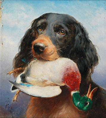 Painting - Gordon Setter With Mallard Duck by Carl Reichert