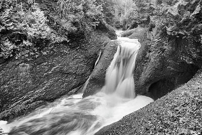 Photograph - Gorge Falls Black And White - Michigan by Rick Veldman