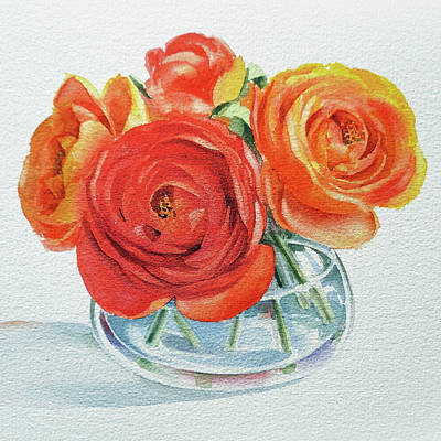 Painting - Gorgeous Ranunculus Watercolor Bouquet by Irina Sztukowski