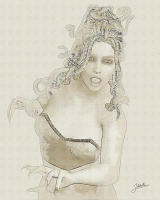 Gorgon Wall Art - Digital Art - Gorgon Drawing by Joaquin Abella