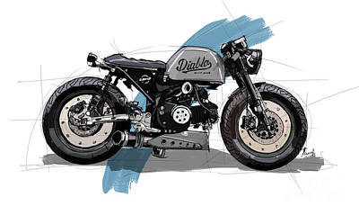 Animals Drawings - Gorilla 125 Cafe racer Custom Original Artwork Gift for bikers by Drawspots Illustrations