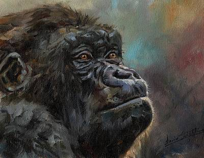 Painting - Gorilla Portrait by David Stribbling