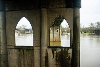 Photograph - Gothic Arches Under Marion Street Bridge by Tom Cochran