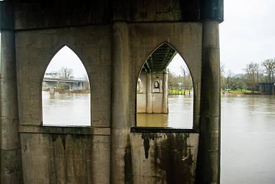 Photograph - Gothic Arches Under Marion Street Bridge by Tom Cochran