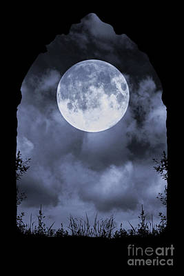 Photograph - Gothic Archway And Moon by Clayton Bastiani