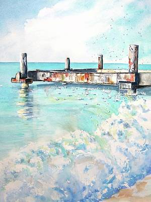 Painting - Grace Bay Old Dock by CarlinArt Watercolor