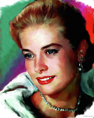 Curated Bath Towels - Grace Kelly painting by Stars on Art