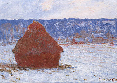 Firefighter Patents - Grainstack in Overcast Weather, Snow Effect by Claude Monet