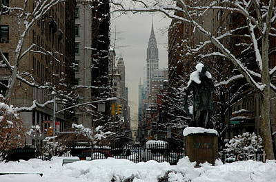 Photograph - Gramercy Park, Snow, Nyc by Anthony Butera