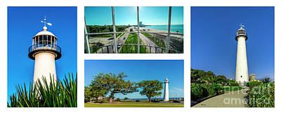 Photograph - Grand Old Lighthouse Biloxi Ms Collage A1b by Ricardos Creations