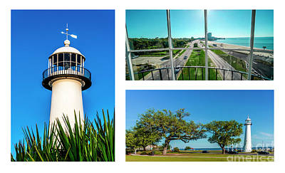 Photograph - Grand Old Lighthouse Biloxi Ms Collage A1c by Ricardos Creations