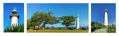 Photograph - Grand Old Lighthouse Biloxi Ms Collage A1e by Ricardos Creations