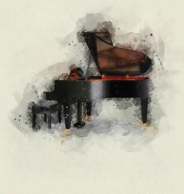 Mixed Media - Grand Piano by David Ridley