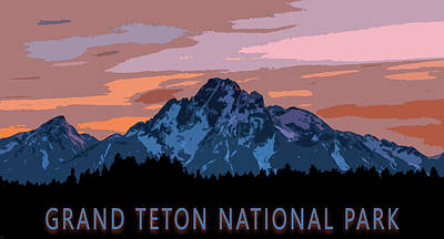 Reptiles Mixed Media - Grand Teton National Park Sunset Poster by Dan Sproul