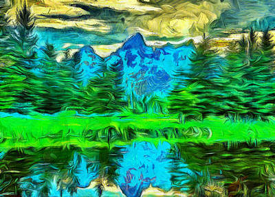Painting - Grand Tetons Morning Reflection by Dan Sproul