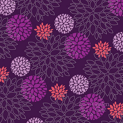 Digital Art - Grape Floral Pattern by Garden Gate magazine
