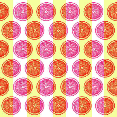 Royalty-Free and Rights-Managed Images - Grapefruit Slice Pattern 1 - Tropical Pattern - Tropical Print - Lemon - Orange - Fruit - Tangerine by Studio Grafiikka