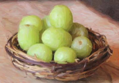 Still Life Royalty-Free and Rights-Managed Images - Grapes In Nest 5 by Cathy Lindsey