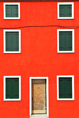 Burano Photograph - Graphic Red House With Shutters, Burano by Dakin Roy