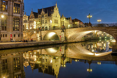 Photograph - Graslei And Sint Michielsbrug by Fabrizio Troiani