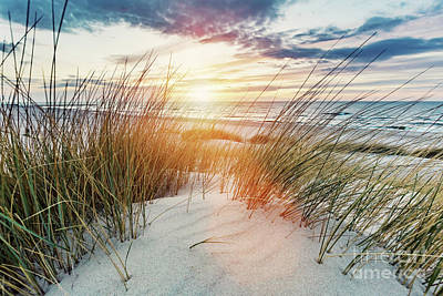 Lake Life - Grassy dunes and the Baltic sea at sunset by Michal Bednarek