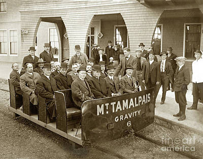 Vintage College Subway Signs Color - Gravity Car No. 6, passengers and  a Gravity-Man at the Porch of the Tavern of Tamalpais  by California Views Archives Mr Pat Hathaway Archives