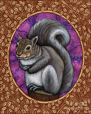 Painting - Gray Squirrel Portrait - Brown Border  by Amy E Fraser