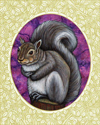 Painting - Gray Squirrel Portrait - Cream Border by Amy E Fraser