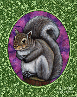 Painting - Gray Squirrel Portrait - Green Border  by Amy E Fraser