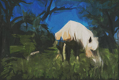 Christmas Christopher And Amanda Elwell - Grazing Horse Grass Meadow Fence by Draw Sly
