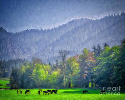 Digital Art - Grazing Horses by Edmund Nagele