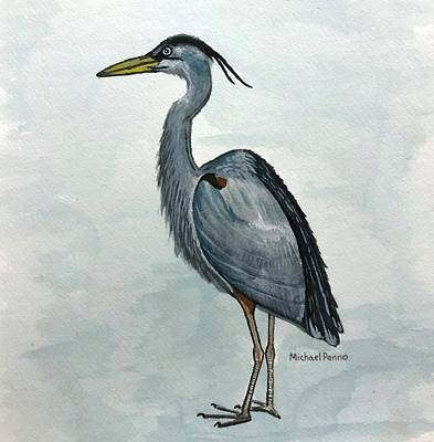 Animals Paintings - Great Blue Heron by Michael Panno