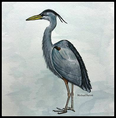 Autumn Pies - Great Blue Heron W/ Border by Michael Panno