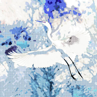 Photograph - Great Egret Wings Digital Art Blue Square  by Carol Groenen