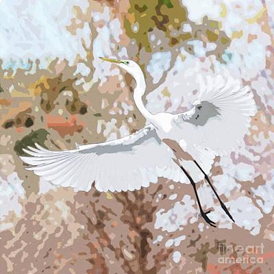Photograph - Great Egret Wings Digital Art Soft by Carol Groenen