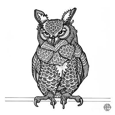 Drawing - Great Horned Owl by Amy E Fraser