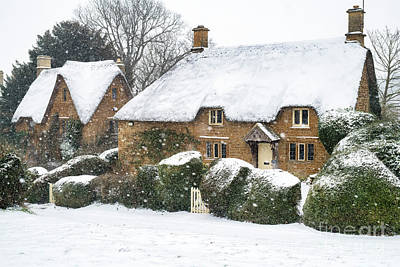 Photograph - Great Tew Thatched Cottages In The Snow by Tim Gainey